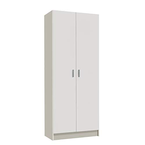 Habitdesign Armario Multiusos, Escobero, 2 Puertas, Acabado en Color Blanco Mate, Medidas: 73 cm...