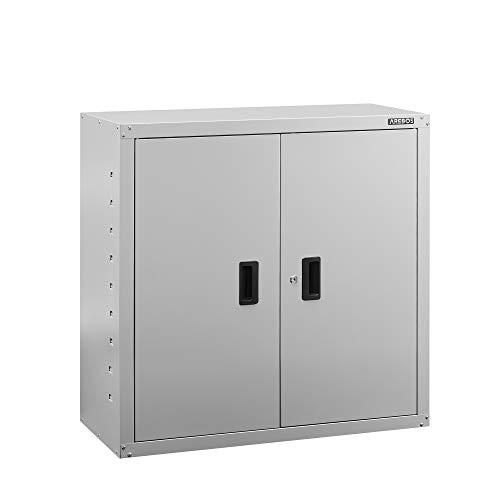 AREBOS Armario archivador para Oficina | Gris | 90 x 40 x 90 cm | 2 Puertas | Estante Regulable en...