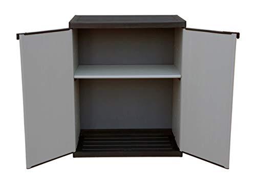 Adventa - Armario bajo de Resina con estantes de 2 Puertas (Interior/Exterior), Gris Negro, 68 x...