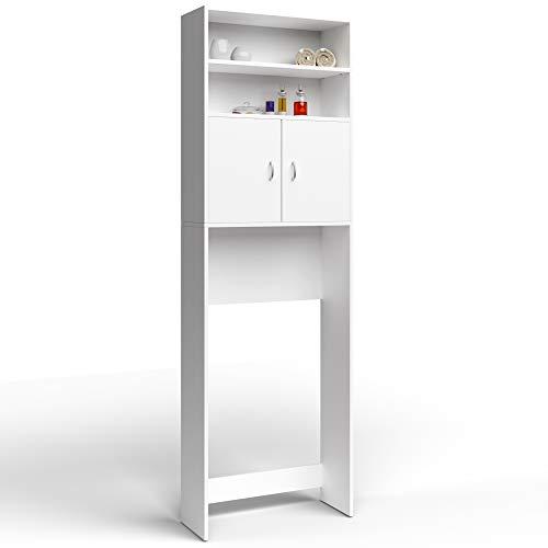 Deuba Armario alto lavadora mueble para baño Blanco 195x63x20cm 3 estantes 2 puertas almacenaje