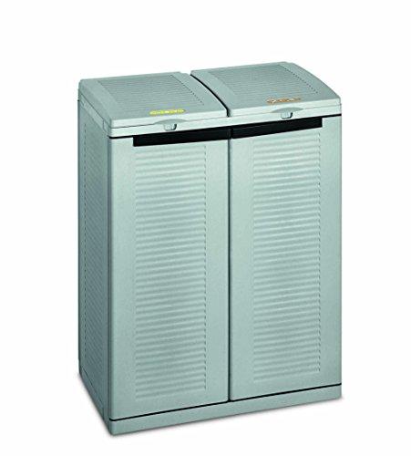 TERRY 1102283 Ecocab 2, Armario para la Recogida Selectiva de Residuos, 2 Compartimentos, Gris,...