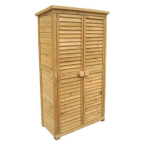 Caseta de jardín 870x465x1600mm con puerta laminada, madera de pícea con tejado de betún,...