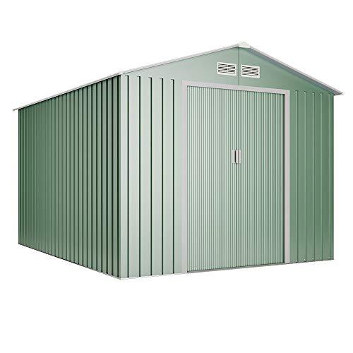 wasabi - Light Green Cobertizo de Metal Jardin Verde 4,2 m2 Garantía 10 años