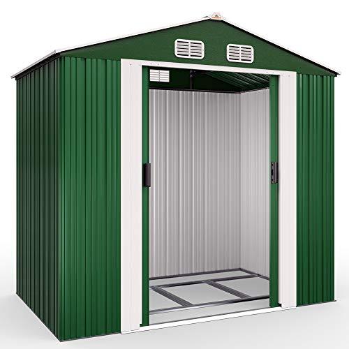 Deuba Cobertizo de Metal 4,2m³ Verde 210x132x186cm Caseta de Herramientas con Base y Puerta...